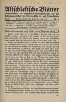 Altschlesische Blätter 1928 : Jg.3, Nr 7
