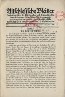 Altschlesische Blätter 1936 : Jg.11, Nr 1