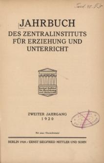 Jahrbuch des Zentralinstituts für Erziehung und Unterricht Jg.2 : 1920