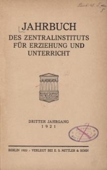 Jahrbuch des Zentralinstituts für Erziehung und Unterricht Jg.3 : 1921