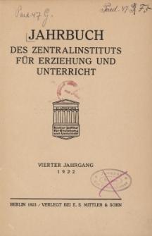 Jahrbuch des Zentralinstituts für Erziehung und Unterricht Jg.4 : 1922