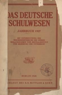 Das Deutsche Schulwesen Jahrbuch 1927