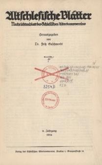 Altschlesische Blätter 1934 : Jg.9, Inhaltsverzeichnis
