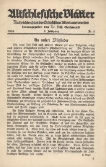 Altschlesische Blätter 1934 : Jg.9, Nr 1