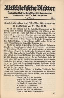 Altschlesische Blätter 1934 : Jg.9, Nr 4