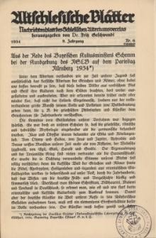 Altschlesische Blätter 1934 : Jg.9, Nr 6