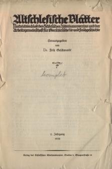 Altschlesische Blätter 1932 : Jg.7, Inhaltsverzeichnis