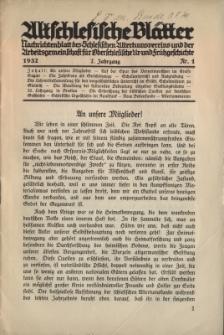 Altschlesische Blätter 1932 : Jg.7, Nr 1