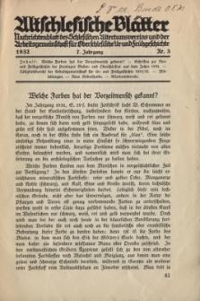 Altschlesische Blätter 1932 : Jg.7, Nr 3