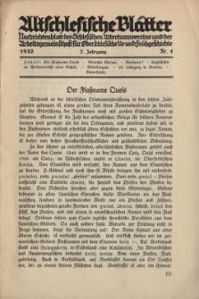 Altschlesische Blätter 1932 : Jg.7, Nr 4