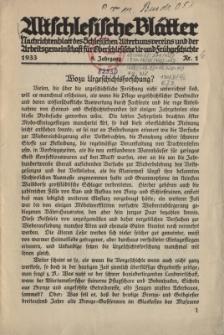 Altschlesische Blätter 1933 : Jg.8, Nr 1