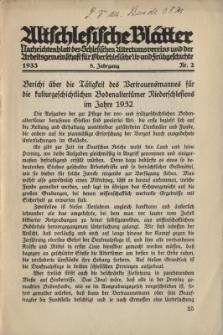Altschlesische Blätter 1933 : Jg.8, Nr 2