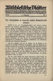 Altschlesische Blätter 1933 : Jg.8, Nr 4