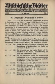 Altschlesische Blätter 1933 : Jg.8, Nr 5