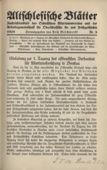 Altschlesische Blätter 1929 : Jg.4, Nr 3