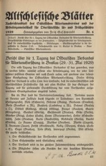 Altschlesische Blätter 1929 : Jg.4, Nr 4