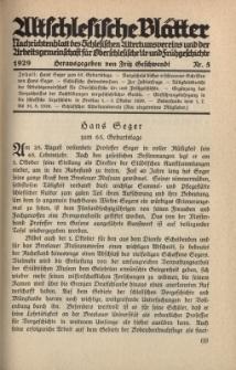 Altschlesische Blätter 1929 : Jg.4, Nr 5