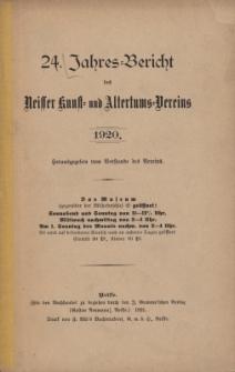 Jahresbericht des Neisser Kunst- und AltertumsVereins 1920: Jg.24