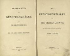 Die Kunstdenkmäler der Landkreise des Reg.-Bezirks ... in amtlichem auftrage bearbeitet von.... Bd.3. Reg. Bezirks Liegnitz