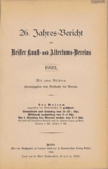 Jahresbericht des Neisser Kunst- und AltertumsVereins 1922: Jg.26