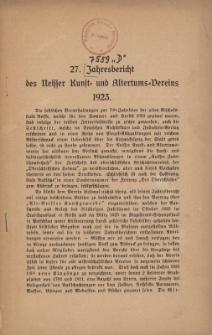 Jahresbericht des Neisser Kunst- und AltertumsVereins 1923: Jg.27