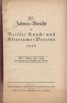 Jahresbericht des Neisser Kunst- und AltertumsVereins 1926: Jg.30