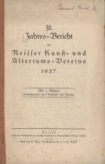 Jahresbericht des Neisser Kunst- und AltertumsVereins 1927: Jg.31