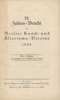 Jahresbericht des Neisser Kunst- und AltertumsVereins 1929: Jg.33