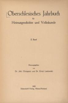 Oberschlesisches Jahrbuch für Heimatgeschichte und Volkskunde, Bd.2