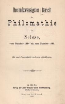 Ber.23 : vom Oktober 1884 bis zum Oktober 1886