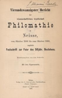 Ber.24 : vom Oktober 1886 bis zum Oktober 1888
