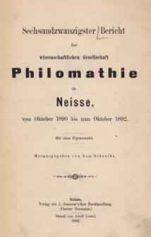 Ber.26 : vom Oktober 1890 bis zum Oktober 1892
