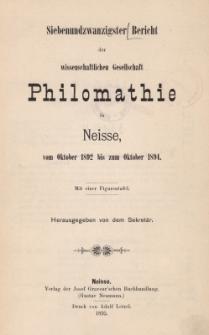 Ber.27 : vom Oktober 1892 bis zum Oktober 1894