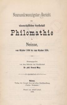 Ber.29 : vom Oktober 1896 bis zum Oktober 1898