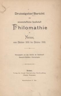 Ber.30 : vom Oktober 1898 bis Oktober 1900