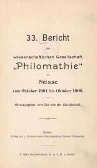 Ber.33 : vom Oktober 1904 bis Oktober 1906