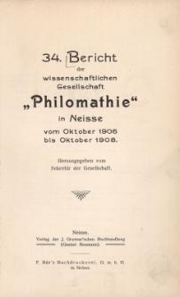 Ber.34 : vom Oktober 1906 bis Oktober 1908
