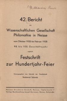 Ber.42 : vom Oktober 1935 bis Februar 1938 : zugleich Festschrift zur Hundertjahr-Feier