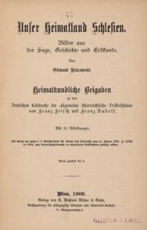 Unser Heimatland Schlesien : Bilder aus der Sage, Geschichte und Erdkunde