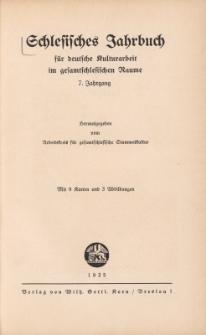 Schlesisches Jahrbuch für deutsche Kulturarbeit im gesamtschlesischen Raume, Jg.7 : 1935