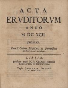 Acta Eruditorum Anno M DC XCII publicata.