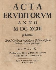 Acta Eruditorum Anno M DC XCIII publicata.