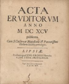 Acta Eruditorum Anno M DC XCV publicata.