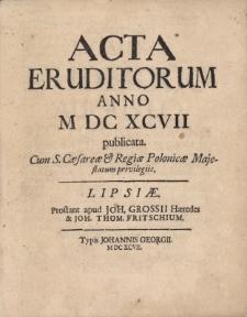 Acta Eruditorum Anno M DC XCVII publicata.