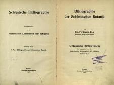 Schlesische Bibliographie. Bd. 4. Bibliographie der Schlesischen Botanik / Historischen Kommission für Schlesien
