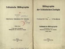 Schlesische Bibliographie. Bd. 5. Bibliographie der Schlesischen Zoologie / Historischen Kommission für Schlesien