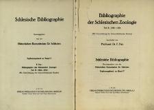Schlesische Bibliographie. Ergänzungsband zu Band 5. Bibliographie der Schlesischen Zoologie, Tl.2: 1928-1934 / Historischen Kommission für Schlesien