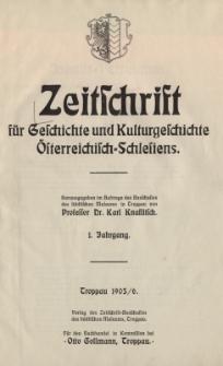 Zeitschrift für Geschichte und Kulturgeschichte Österreichisch-Schlesiens, Jg.1, Inhalt