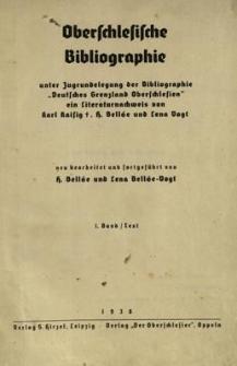 Oberschlesische Bibliographie. Bd. 1 : Text