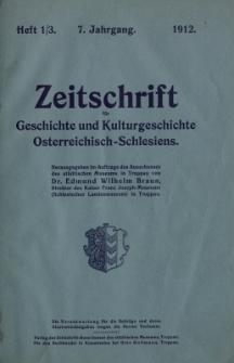 Zeitschrift für Geschichte und Kulturgeschichte Österreichisch-Schlesiens, Jg.7, Heft 1/3